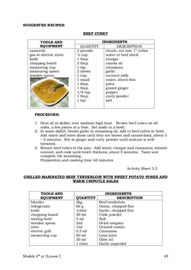 Cblm Lg Gr 10 Tle Commercial Cooking Cookery