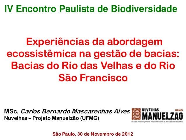 IV Encontro Paulista de Biodiversidade   Experiências da abordagemecossistêmica na gestão de bacias: Bacias do Rio das Vel...