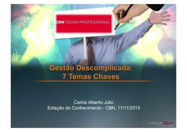 Carlos Alberto Júlio Estação do Conhecimento - CBN, 11/11/2015