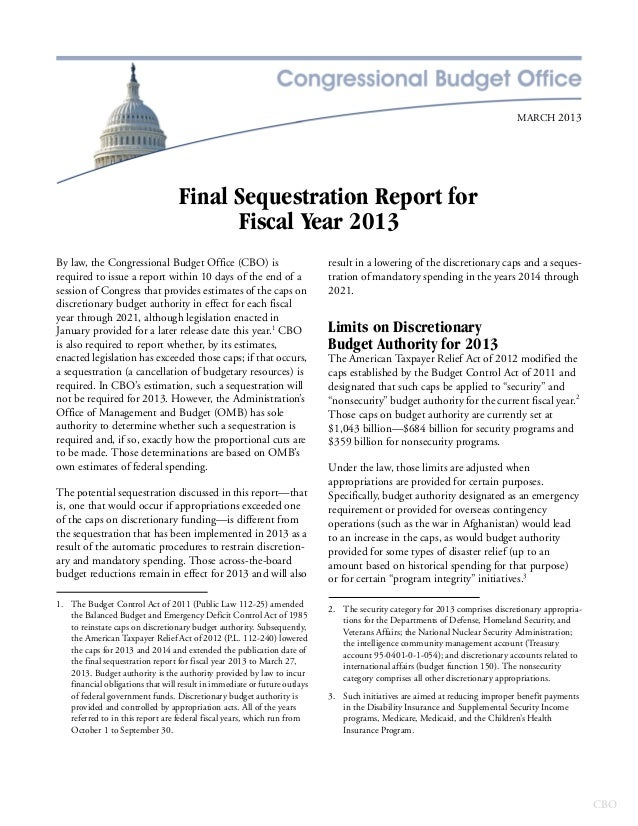 MARCH 2013                                   Final Sequestration Report for                                         Fiscal...