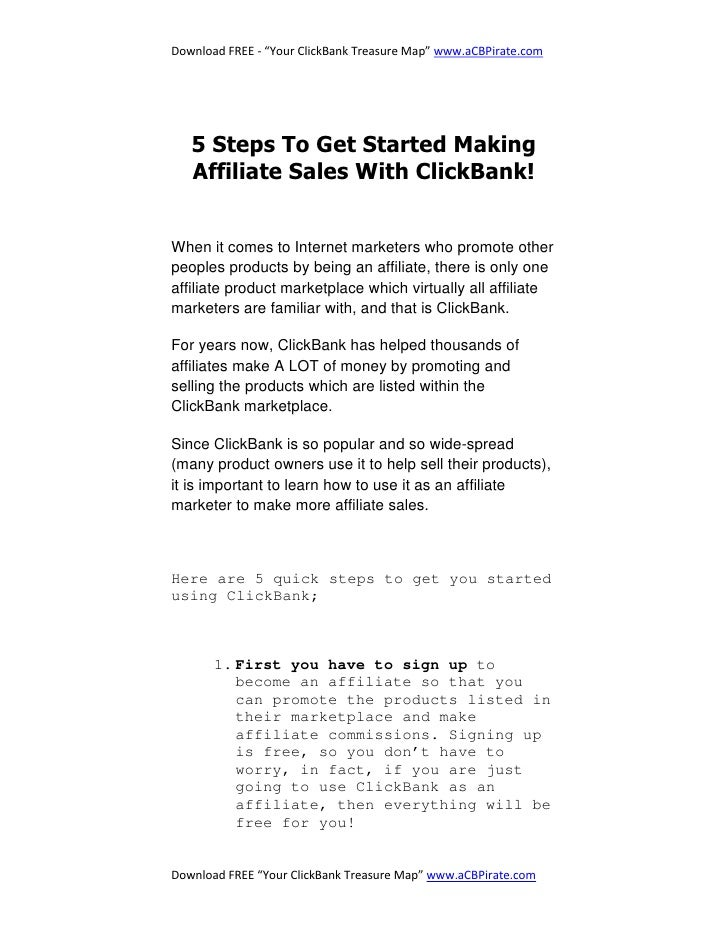 """Download FREE - """"Your ClickBank Treasure Map"""" www.aCBPirate.com        5 Steps To Get Started Making    Affiliate Sales Wi..."""