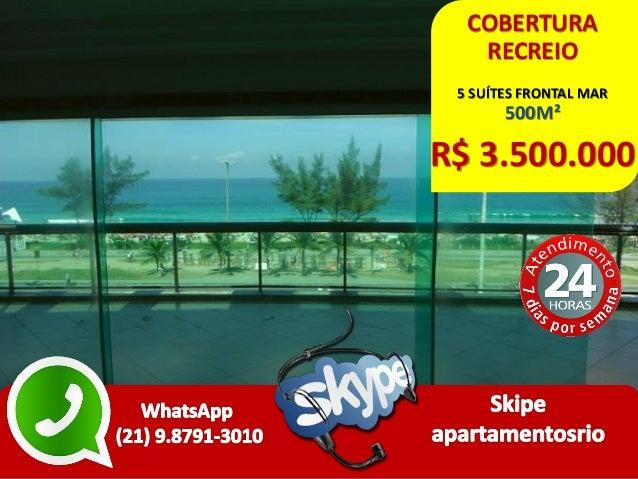 COBERTURA RECREIO 5 SUÍTES FRONTAL MAR 500M² R$ 3.500.000