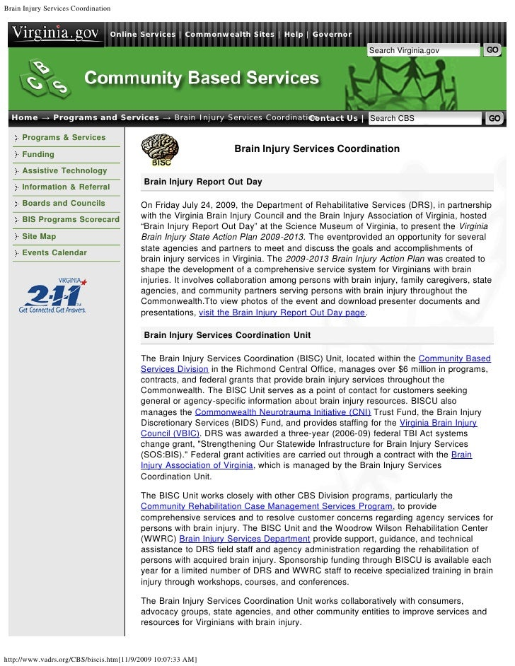 Brain Injury Services Coordination                                 Online Services | Commonwealth Sites | Help | Governor ...