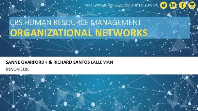 © CBS HUMAN RESOURCE MANAGEMENT ORGANIZATIONAL NETWORKS SANNE QVARFORDH & RICHARD SANTOS LALLEMAN INNOVISOR VISIT WWW.INNO...