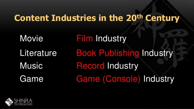 Content Industries in the 20th Century  Movie  Film Industry  Literature Book Publishing Industry  Music Record Industry  ...