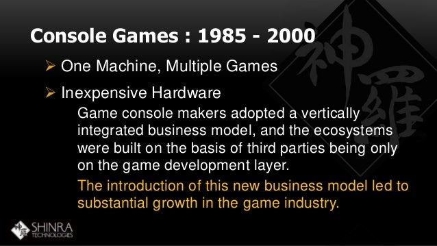 Console Games : 1985 - 2000   One Machine, Multiple Games   Inexpensive Hardware  Game console makers adopted a vertical...