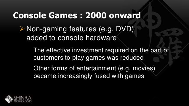 Console Games : 2000 onward  Non-gaming features (e.g. DVD)  added to console hardware  The effective investment required...