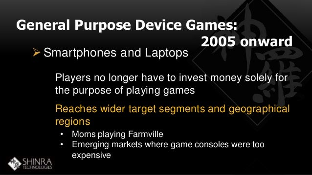 General Purpose Device Games:  2005 onward   Smartphones and Laptops  Players no longer have to invest money solely for  ...