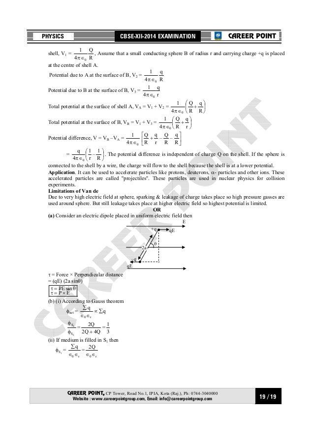 Cbs board xii-physics 2014 set 3