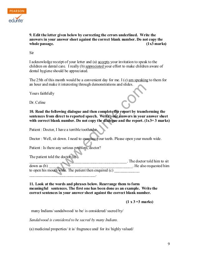 Class 10 Cbse English Literature Sample Paper Term 1 2011