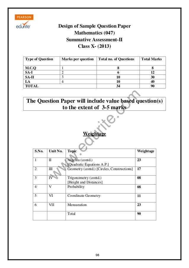 Class 10 cbse maths sample paper term 2 2013 w w w rite design of sample question paper mathematics 047 malvernweather Images