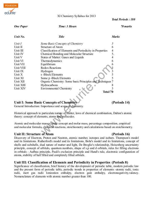 w w w .edurite.com XI Chemistry Syllabus for 2013 Total Periods : 180 One Paper Time: 3 Hours 70 marks Unit No. Title Mark...