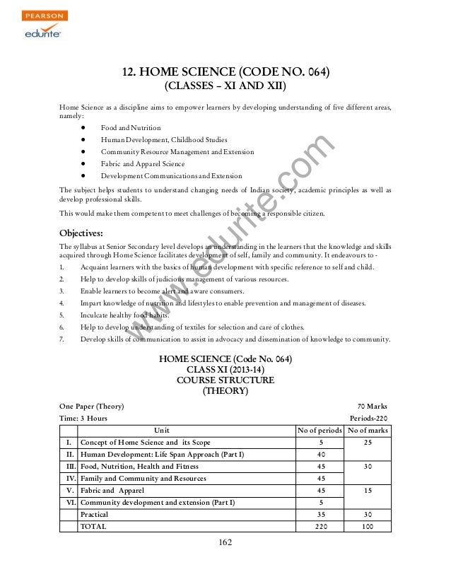 w w w .edurite.com 162 12. HOME SCIENCE (CODE NO. 064) (CLASSES – XI AND XII) Home Science as a discipline aims to empower...