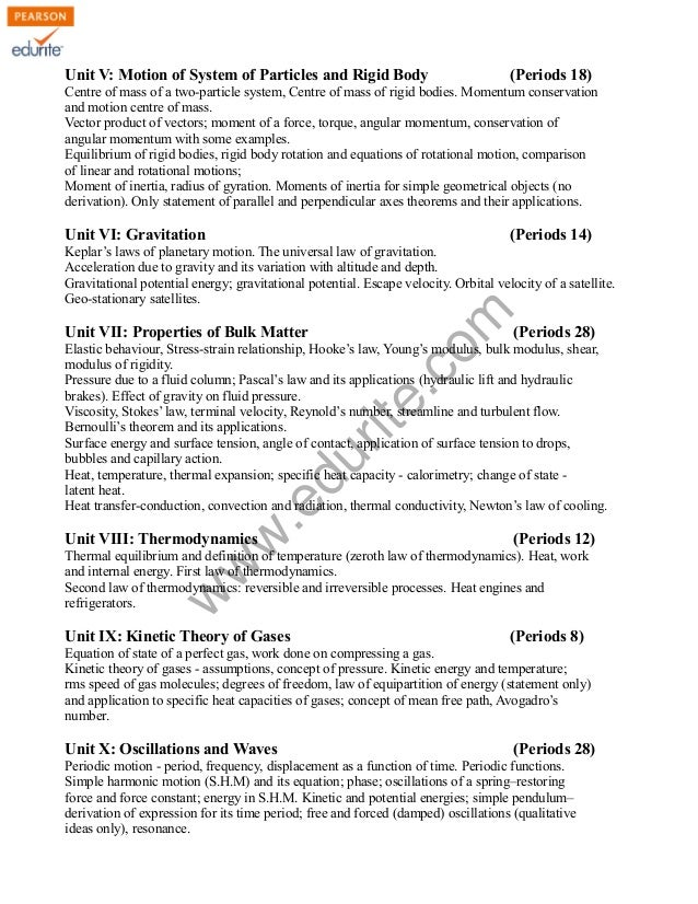 Class 11 Cbse Physics Syllabus 2011-12