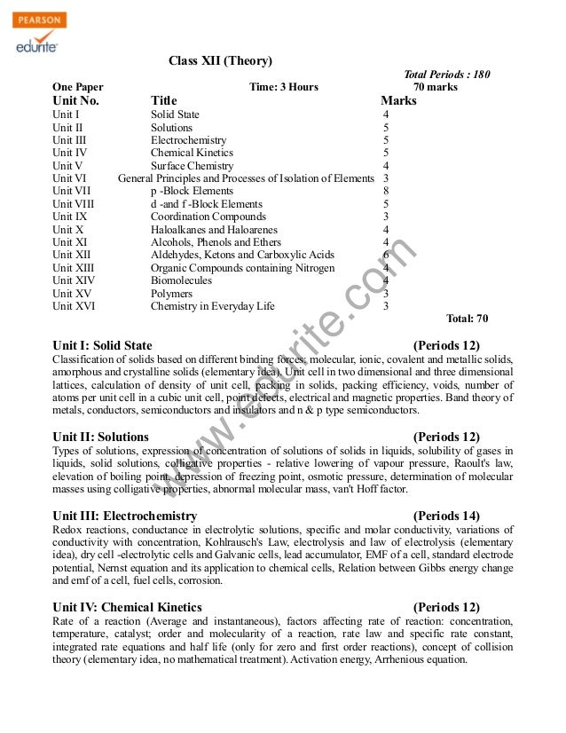 Class XII (Theory) One Paper  Unit No.  Title  Marks  Solid State Solutions Electrochemistry Chemical Kinetics Surface Che...