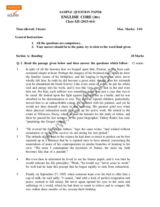 Class  Cbse English Core Sample Paper