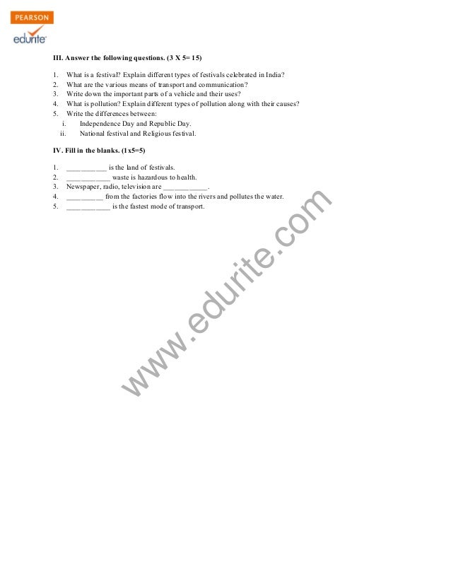 Class 3 CBSE EVS Sample Paper Term 2