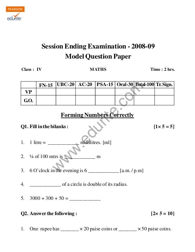 Class 4 Cbse Maths Question Paper