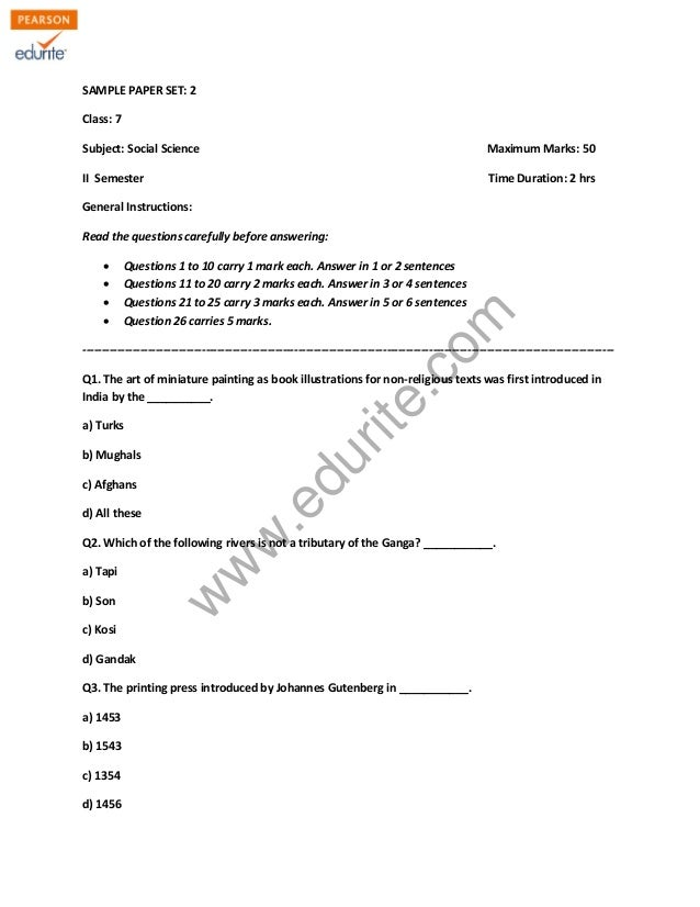SAMPLE PAPER SET: 2  Class: 7  Subject: Social Science Maximum Marks: 50  II Semester Time Duration: 2 hrs  General Instru...