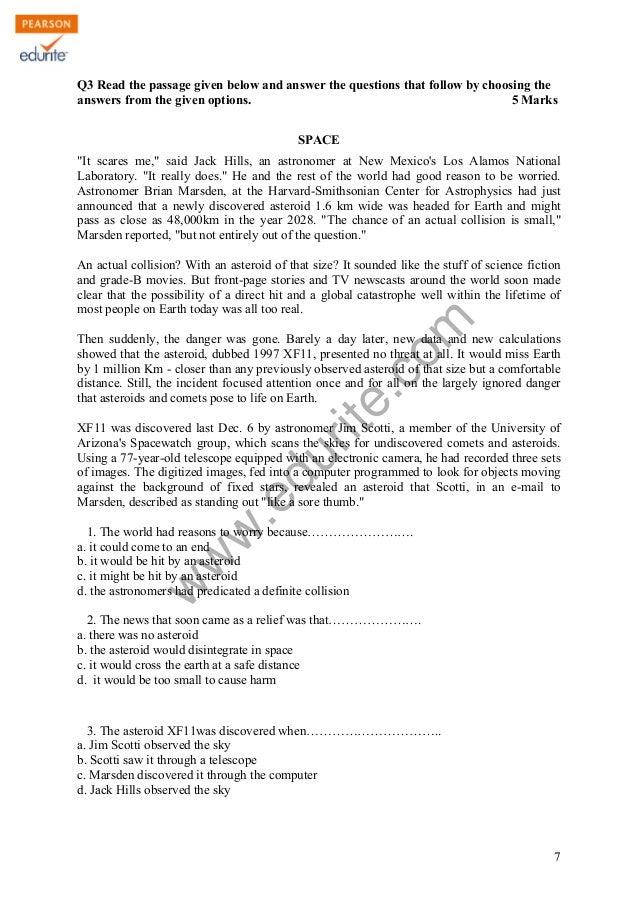 English sample paper term 2