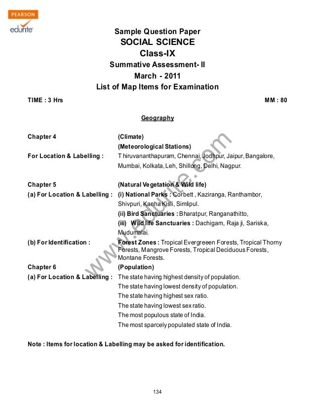 Class 9 Cbse Social Science Term 2 Sample Paper 2011