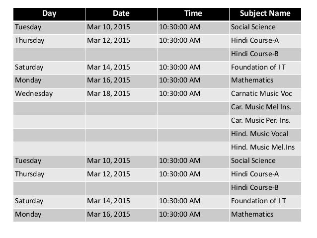 CBSE time table for 2015 board exams expected to be released in