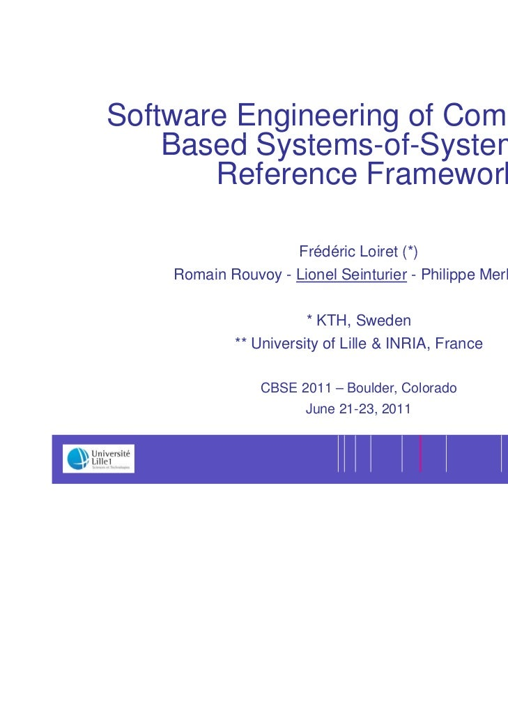 1Software Engineering of Component-    Based S stems of S stems A          Systems-of-Systems:       Reference Framework  ...