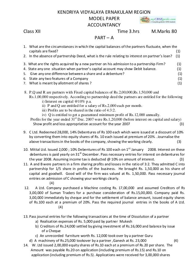 Cbse Class  Accountancy Sample Paper  For