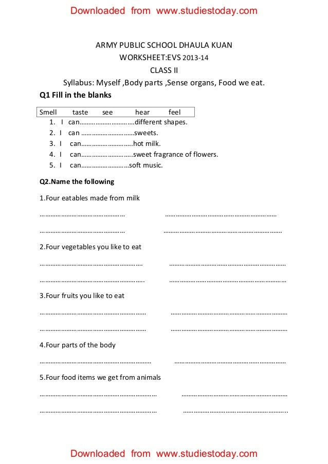 Printable Worksheets science worksheets for class 5 : Cbse class 2 evs practice worksheets (30) myself, body parts
