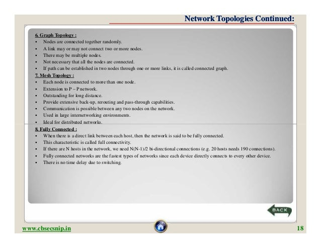 Network Topologies Continued:    6. Graph Topology :       Nodes are connected together randomly.       A link may or ma...
