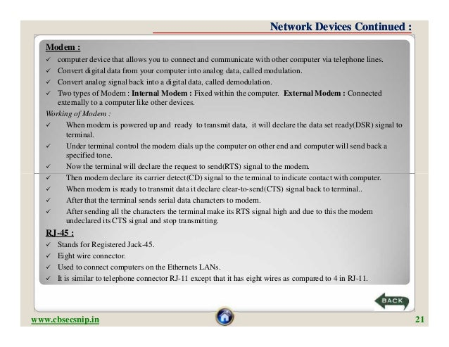 Network Devices Continued :   Modem :     computer device that allows you to connect and communicate with other computer ...