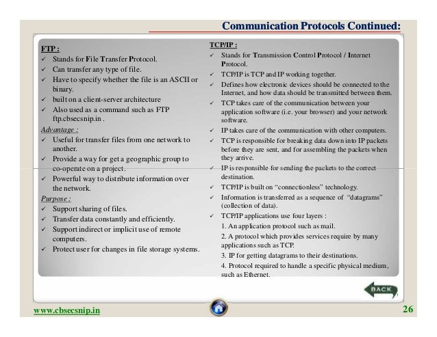 Communication Protocols Continued:                                                       TCP/IP : FTP :                   ...