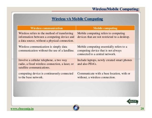 Wireless/Mobile Computing:                                 Wireless v/s Mobile Computing               Wireless communicat...