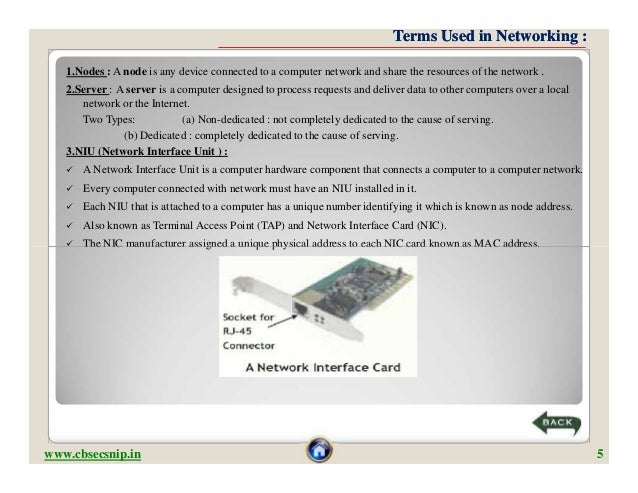Terms Used in Networking :   1.Nodes : A node is any device connected to a computer network and share the resources of the...