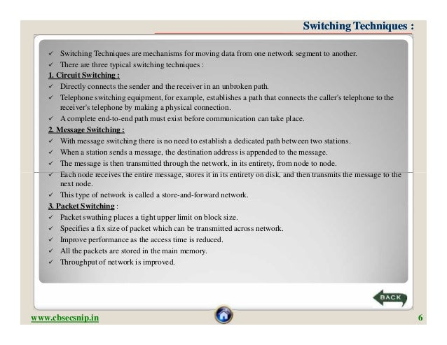 Switching Techniques :       Switching Techniques are mechanisms for moving data from one network segment to another.    ...