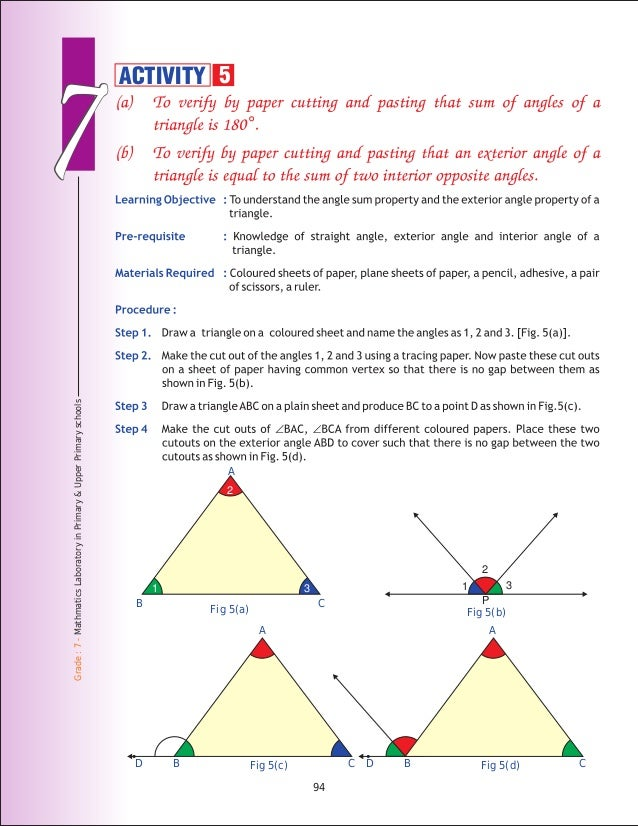 exterior angle sum property of a triangle activity angle sum