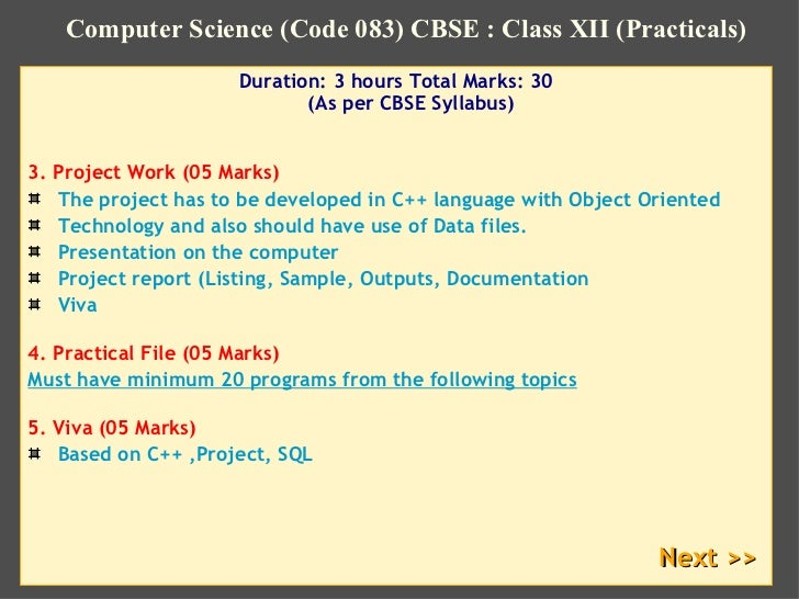 Computer Science Xii Cbse Computer Science Practicals
