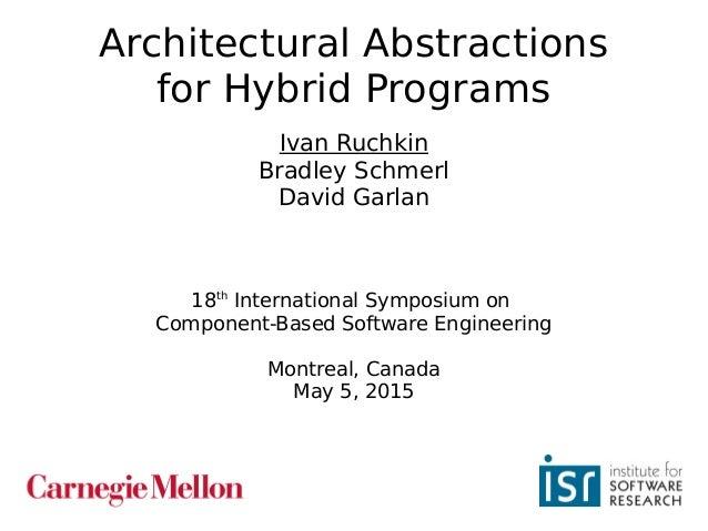 1 Architectural Abstractions for Hybrid Programs Ivan Ruchkin Bradley Schmerl David Garlan 18th International Symposium on...