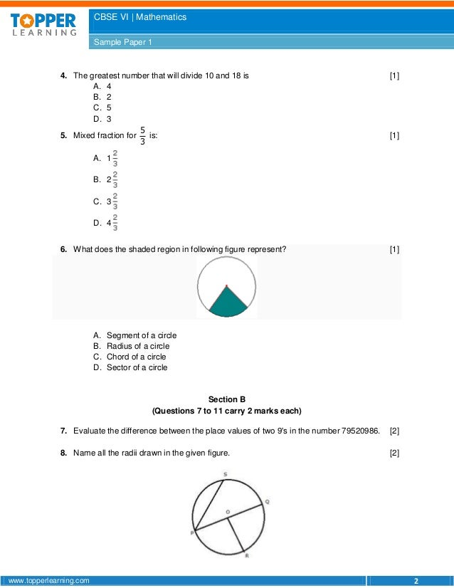 CBSE sample paper for class 6 maths term 1 question