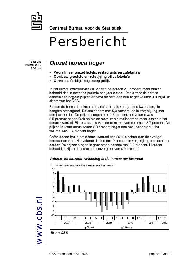 Centraal Bureau voor de Statistiek                 Persbericht  PB12-03624 mei 2012      Omzet horeca hoger   9.30 uur    ...