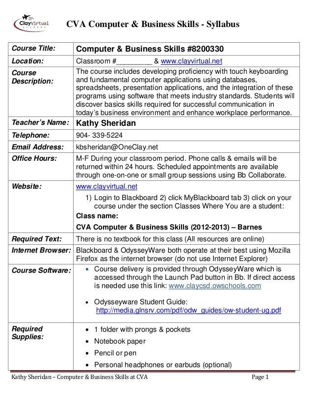 CVA Computer & Business Skills - SyllabusCourse Title:          Computer & Business Skills #8200330Location:              ...