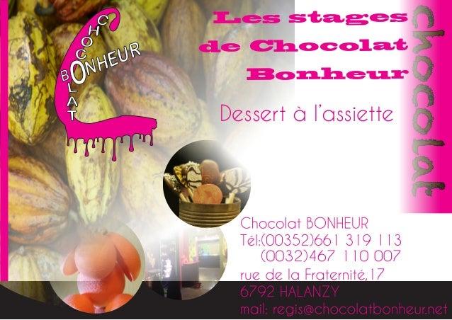 Les stages de Chocolat Bonheur chocolat Dessert à l'assiette