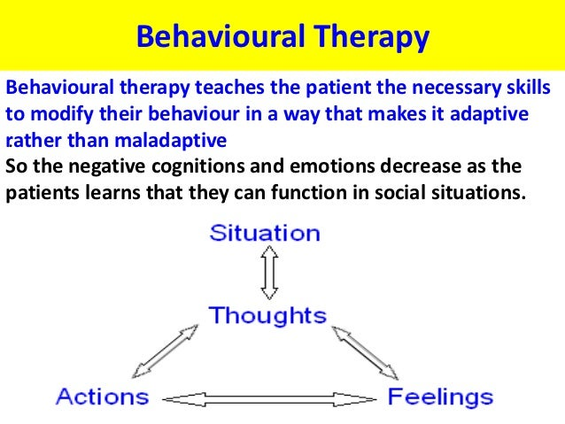 Behavioural TherapyBehavioural therapy teaches the patient the necessary skillsto modify their behaviour in a way that mak...