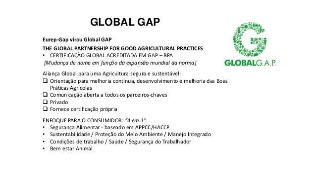 GLOBAL GAP Eurep-Gap virou Global GAP THE GLOBAL PARTNERSHIP FOR GOOD AGRICULTURAL PRACTICES • CERTIFICAÇÃO GLOBAL ACREDIT...