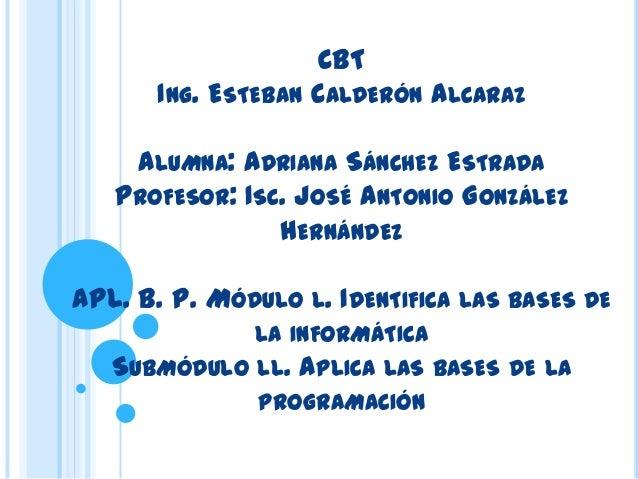 CBT       ING. ESTEBAN   CALDERÓN ALCARAZ    ALUMNA: ADRIANA SÁNCHEZ ESTRADA   PROFESOR: ISC. JOSÉ ANTONIO GONZÁLEZ       ...
