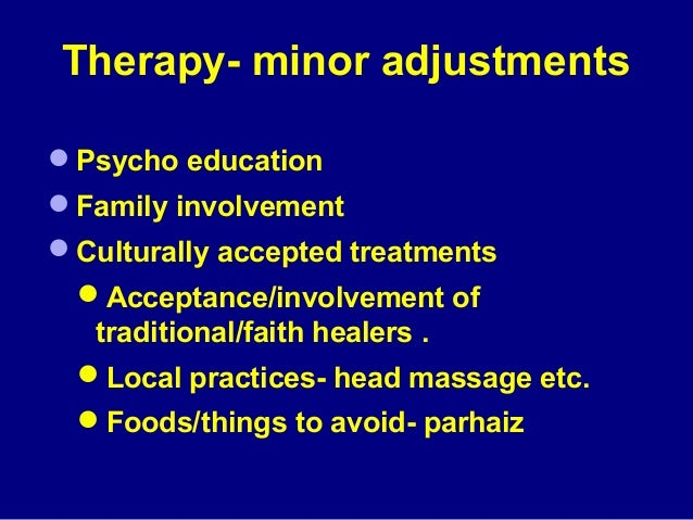 Focus of therapy (e.g., Physical symptoms in  thought diaries) Home work Regular reminders Less of writing work Invol...