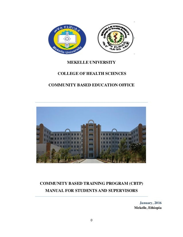 Community Based Training Program (CBTP) manual of College of