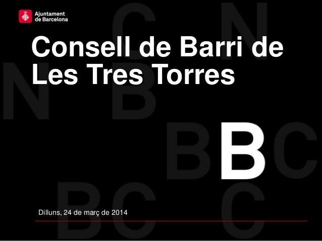 Consell de Barri de Les Tres Torres Dilluns, 24 de març de 2014