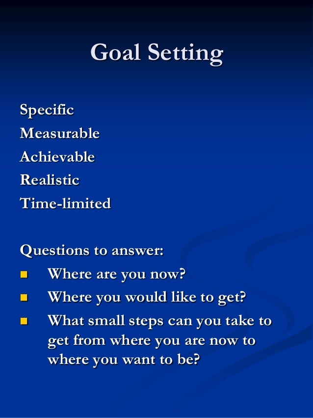 Goal Setting Specific Measurable Achievable Realistic Time-limited Questions to answer:  Where are you now?  Where you w...