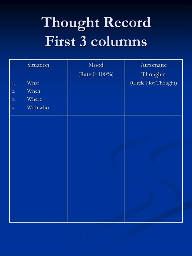 Thought Record First 3 columns Situation 1. 2. 3. 4.  What When Where With who  Mood (Rate 0-100%)  Automatic Thoughts (Ci...
